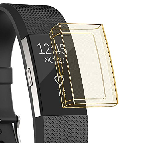UNMIZ Ersatzband Ultradünne weiche TPU-Schutzhülle aus Silikon für Fitbit Charge 2(Gelb)
