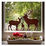 Fensterbild Rehfamilie, stilvolle Fenster-Dekoration für das Kinderzimmer,Farbe: braun, Größe: 35 x 26 cm, Wandmotive.de
