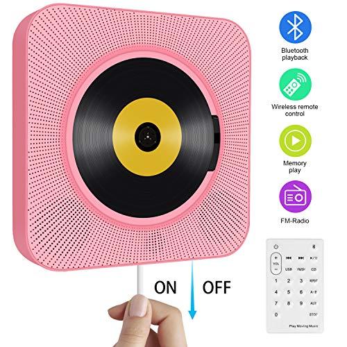 Tragbarer CD Player, wandmontierbar Bluetooth eingebaute HiFi-Lautsprecher für Kinder mit Fernbedienung, FM-Radio, USB mp3 Kopfhöreranschluss, Power an oder aus mit Zugschalter -Rosa - Cd-player Fernbedienung