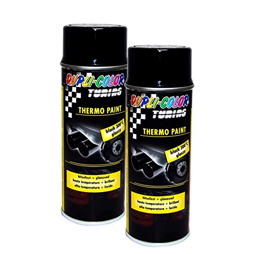 2X DUPLI-Color Thermo-Lack Black GLÄNZEND 300°C HITZEBESTÄNDIG Lack Spray 400 ML -