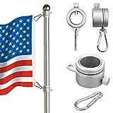 Fahnenmast-Ringe, Aluminium, 360 Grad drehbar, Flaggenmast, Montageringe, mit Karabiner für 1,9-2,6 cm Durchmesser
