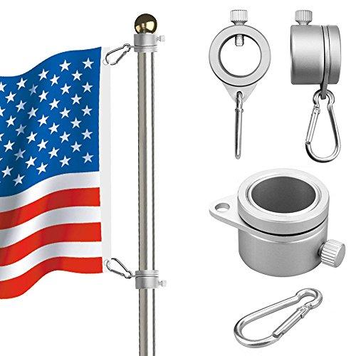 Flagge Pole Ringe, Aluminium 360Grad drehbar Fahnenstange Flagge Befestigungsringen Spinning Flag Pole Kit mit Karabiner für 1,9–2,6cm Durchmesser Fahnenstange, Fahnenstange Befestigungsringen