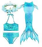 HiFunBay mädchen Meerjungfrau Schwanz Kinder Schwimmen Kostüm Enthalten 3 STÜCKE Bikini Badeanzug und Blumengirlande Stirnband (DH06-B08,120)