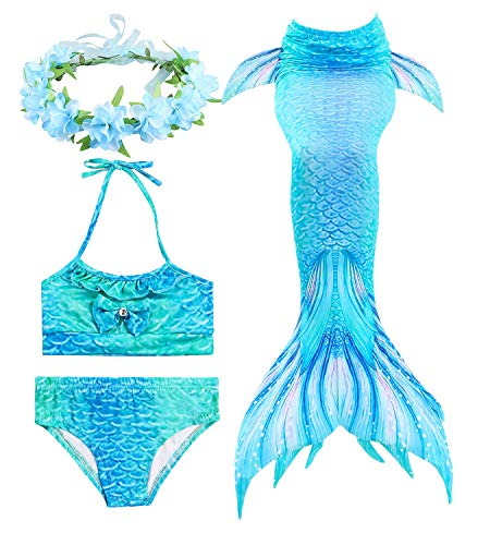HiFunBay mädchen Meerjungfrau Schwanz Kinder Schwimmen Kostüm Enthalten 3 STÜCKE Bikini Badeanzug und Blumengirlande Stirnband (DH06-B08,130)