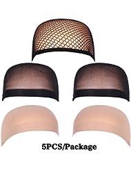 Golden Rule Femme Perruque Caps Naturel Beige Nude et Noir en maille Perruque Open end Caps Bouchons de cheveux 5pièces/Lot