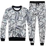 Vieryyes Tute Uomo Donna con Pantaloni 3D Funny Print USA 100 Dollari Abbigliamento Due Pezzi Set 01 XXL