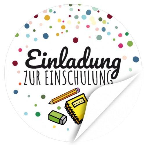 24 x Aufkleber zur Einschulung, rund 4cm - Motiv Einladung zur Einschulung Bunte Symbole - Schule/Schulkind/Eingeschult/Junge/Mädchen