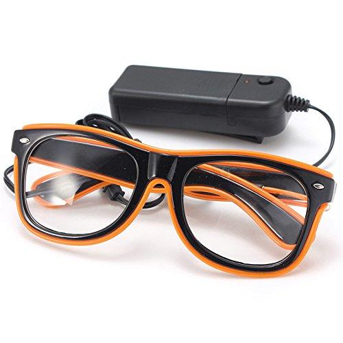 Wooya El Wire Neon Led Luz del Obturador En Forma De Gafas para Traje Rave Party-Naranja