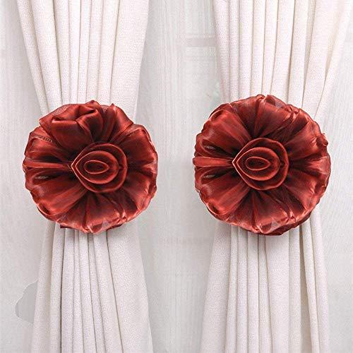 EUTUOPU 1Pcs Flower Curtain Clip-on Tie Backs Curtain Holdback Tieback Holder for Voile Net Curtain Panels (Wine)