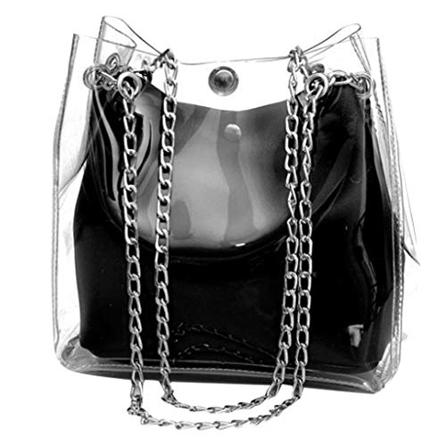 holitie Women Freizeit Messenger Shoulder Bag Shopper Handtasche Small Transparent Bucket Bags Chain Bag Totes Compound Female Mini Shopper Bag -