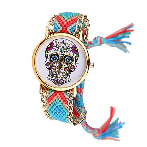 Bracelets Réf1S73 BR.1162 Armbanduhr, Brasilianisches Design, Blau/Türkis / Koralle, Motiv Mexikanischer Totenkopf, Hippie Bohème – Goldkette – verstellbar – Boho Chic