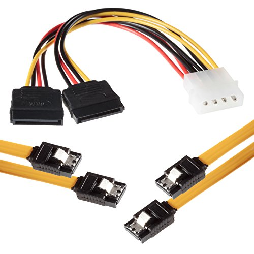 Poppstar 2x50cm Sata 3 Datenkabel in gelb (Stecker gerade), inkl. 20cm 4-pin Stromadapter auf 2x 15-pin, Sata Kabel für Festplatte, Motherboard, PC Case Modding uvm.