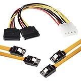 1007833 - Pack de 2 cables SATA, conectores rectos, 0.5 m+ 4 pines a 2x adaptador de alimentación SATA, color amarillo