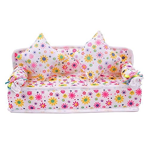 honearn-barbie-couch-flower-sofa-with-2-cushions-dollhouse-miniature-furniture