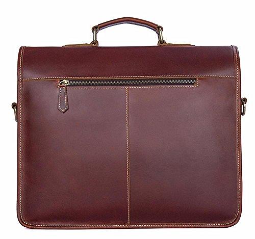 Everdoss Herren Aktentasche Vintage Laptoptasche Arbeitstasche Businesstasche Messenger Bag Rot Braun Rot Braun