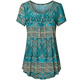 Ladies Tops,Internet Women Blouse Scoop Neck Pleated Large Code Short Sleeve Tunic African Three Quarter Sleeved Circular Neck Printed Tops Loose T-Shirt Blouse (M, Blue)