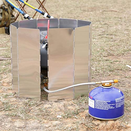 Lorenlli Faltbare 10 Platten Aluminiumlegierung Herd BBQ Gasherd Windschutzschirm Bildschirm Picknick Camping Picknick Herd Herd Windschutz