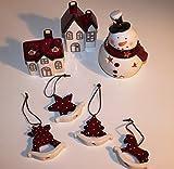 LED Schneemann+ Krippe Häuschen + Weihnachtsbaumschmuck Dekoration Keramik Christmas rot weiß ü2ü 488