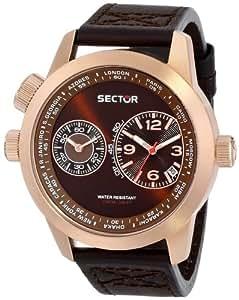 Sector No Limits - R3251102022 - Pendule Homme - Quartz Analogique - Cadran Marron - Bracelet Cuir Violet
