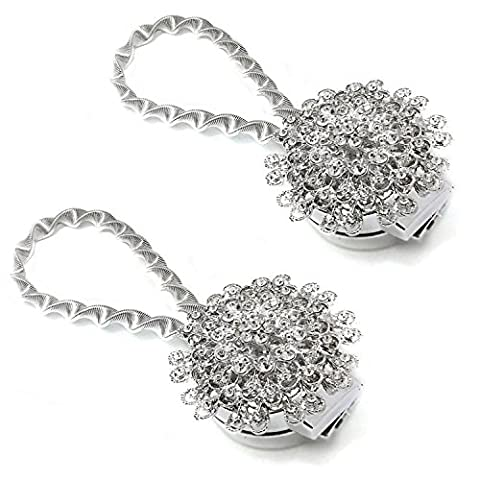 WarmieHomy 2-Stück Magnet Vorhang Raffhalter Kristall Vorhang Clip Raffhalter Silber