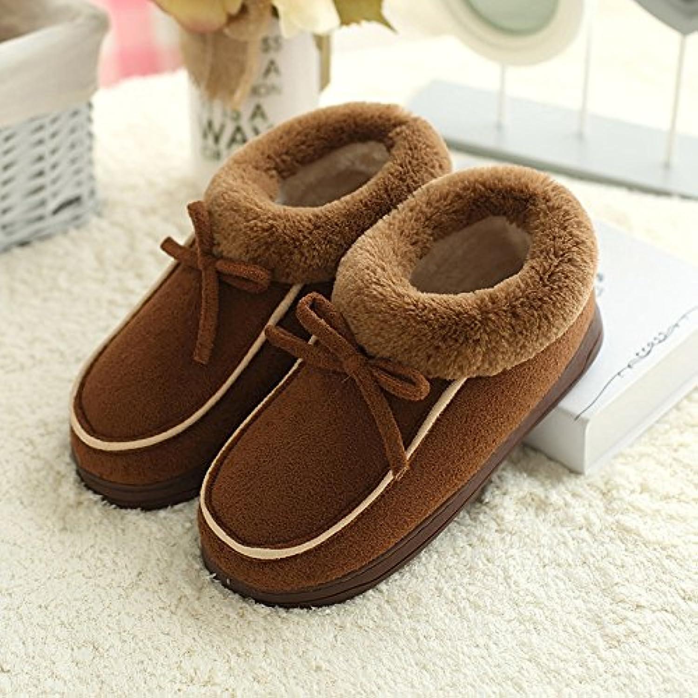 Cubierta de invierno hogar zapatillas cabello hombres femenina inferior grueso par antideslizante zapatillas de  -