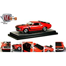 1970 Ford Mustang Boss 302 Red With Black Stripes 1/24 by M2 Machines 40300-48A by M2