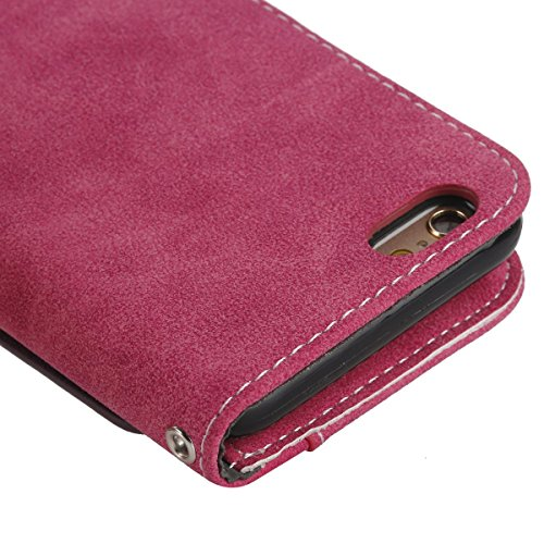 Coque de Protection pour Apple iPhone 6s,Etui Housse Luxe iPhone 6, Protectrice Housse étui en Cuir avec Lanyard pour iphone 6 / 6s,Ekakashop iphone 6 / 6s Book Folding Kaki Rétro Style Portefeuille W Rose Rouge 2