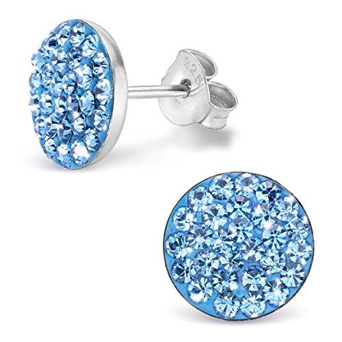 Silvinity Kristall Ohrstecker blau rund flach 10mm 925 Silber Ohrringe Damen Stecker rhodiniert mit Strass Steinen in hellblau - Runde Aquamarin Ohrstecker
