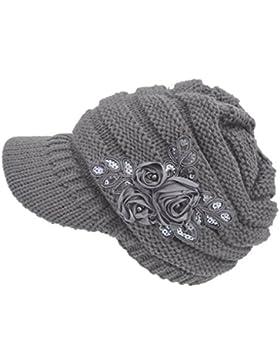 Strickmützen Damen, DoraMe Frauen Schirmmützen Strickmuster Visor Hut Sequins Abziehbilder Hüte