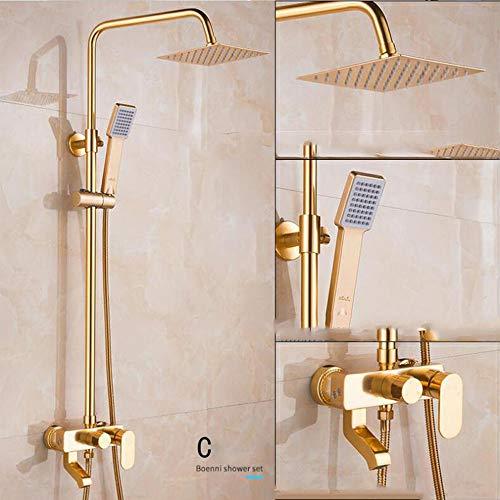 AA100 Luxus-Mixer Dusche Set Duschventil DREI-Gang-Booster-Dusche Wandfarbe (Gold)