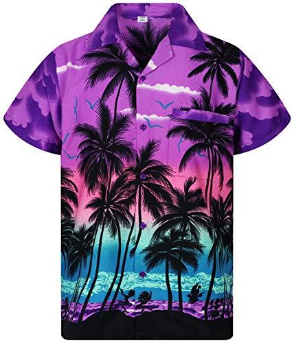 V.H.O. Funky Hawaiihemd, Kurzarm, Beach, violett, L