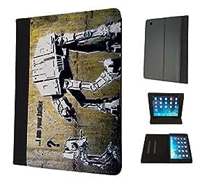 548 - Banksy Grafitti Art Star War Robot Design Apple ipad Mini 4 -2015 Fashion Trend Book Style Coque Purse Wallet Pouch portefeuille Poche Flip Coque Flip Case Coquee