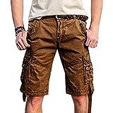 Herren Vintage Cargo Shorts Multi Taschen Im Freien Unifarben Mittlere Taille Reißverschluss Kaffeebraun 32