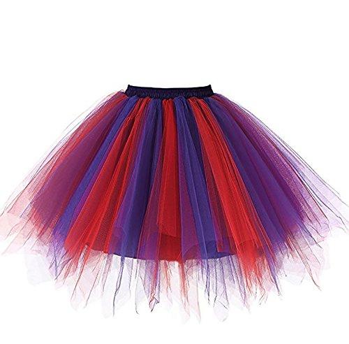 Changuan Frauen Vintage kurze Petticoat Rock Ballett Bubble Tutu mehrfarbige Pettiskirt Größe L/XL Rot-Violett-Blau (Bubble Skirt)
