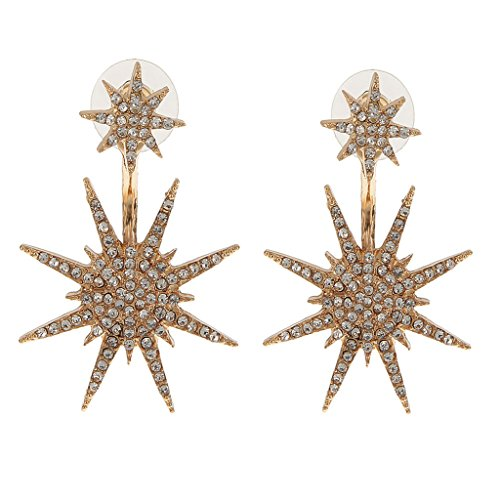 Generic Gold Crystal Rhinestone Star Dangle Earrings For Women