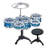 Vi.yo Kinder 5-teilige Anfänger Drum Kit Set Drums Becken Musik Spielzeug Instrument mit Hocker (Blau)