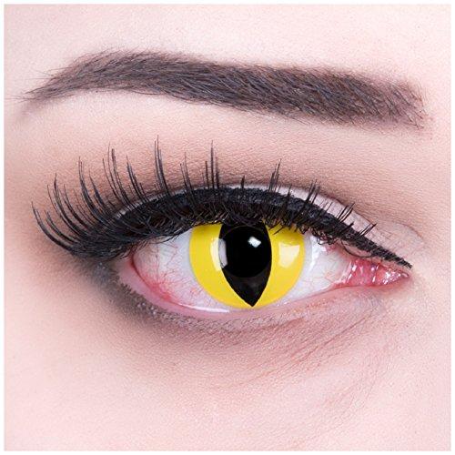 Farbige gelbe Katzenaugen Kontaktlinsen mit Stärke -4,00 Crazy Fun Color Contact Lenses 'Cat Eye' Topqualität mit Linsenbehälter