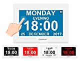 iGuerburn Horloge calendrier numérique avec 8' écran tactile, réveil parlant électroniques avec date et heure pour Alzheimer, démence, personnes âgées/8 alarme (blanc)