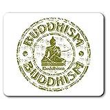 Confortevole Mat Mouse - verde Buddismo Dio meditazione monaco 23.5 x 19.6 cm (9.3 x 7.7 pollici) per il calcolatore & computer portatile, ufficio, regalo, base antiscivolo - RM5768