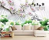 BHXINGMU Wandbild Individuelle Fototapete 3D-Magnolie Und Lotus Kunsttapete Große Schlafzimmerwanddekoration 150Cm(H)×200Cm(W)