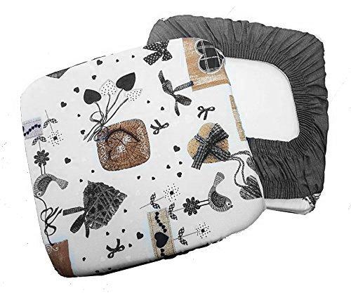 Takestop® set 6 coprisedia cuscini grigio panna fiocco cuori con fascia elastico cuscino per sedie imbottito sfoderabile shabby chic