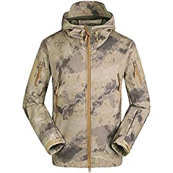 Roful Chaqueta Softshell Impermeable para Hombres, Forro Polar, Abrigo de Camuflaje para Exteriores