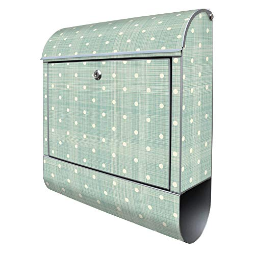 BANJADO Design Briefkasten mit Zeitungsfach, 2 Schlüssel, A4 Einwurf, silber pulverbeschichtet, mit Motiv Punkte Lindgrün