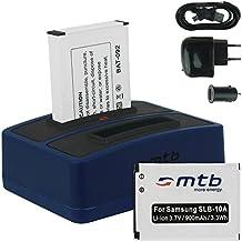 2x Baterías + Cargador doble (USB/Coche/Corriente) para Samsung SLB-10A / Toshiba Camileo X-Sports / JVC Adixxion / Silvercrest / Medion Action Cam.. v. lista