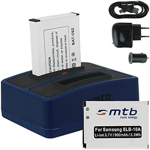 2x Baterías + Cargador doble (USB/Coche/Corriente) para Samsung SLB-10A / Toshiba Camileo X-Sports / JVC Adixxion / Silvercrest / Medion Action Cam.. v.