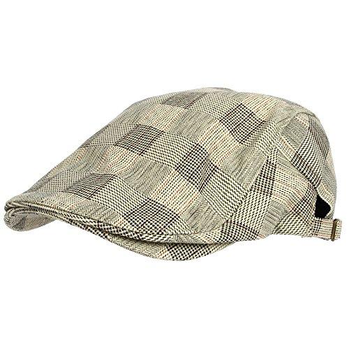WITHMOONS Béret Casquette Chapeau Tartan Check Newsboy Hat Flat Cap SL3036 Ecru