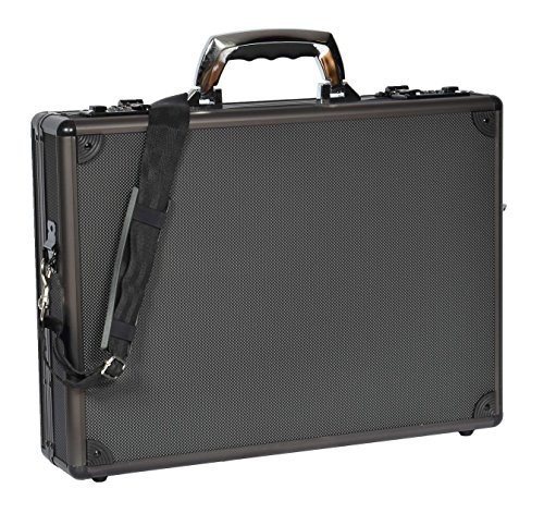 House of Leather Executive Aktentasche Aluminium Metallrahmen Attache Tragetasche Kohlenstoff Schwarz HOL3969