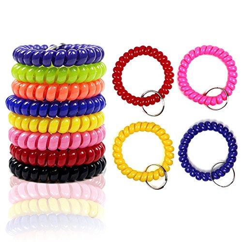 Teydhao 6pcs bunte Spule dehnbar Armband Spirale Schlüsselbund Schlüsselanhänger für Gym Pool - zufällige Farbe Schlüsselbund Ring Flexibel