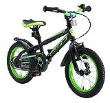 BIKESTAR Bicicleta Infantil para niños y niñas a Partir de 4 años | Bici de montaña 14 Pulgadas con Frenos | 14' Edición Mountainbike Nero Verde