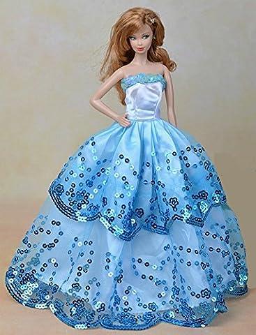 Youvinson Verschiedene Handmade Brautkleider und Kleider für Barbie-Puppen (Blau 2)